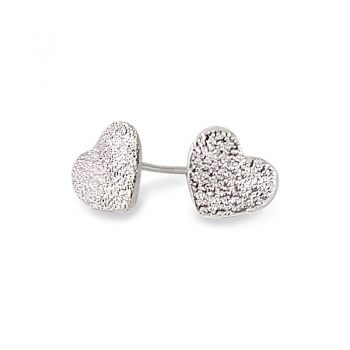 silver love heart stud earrings