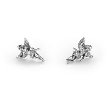 silver guardian angel earrings
