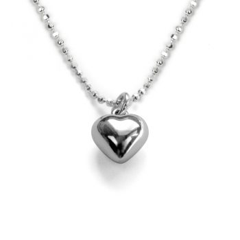 silver little girls heart necklace