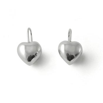 silver love heart hook earrings