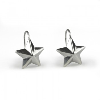 silver lucky star earrings (hook)