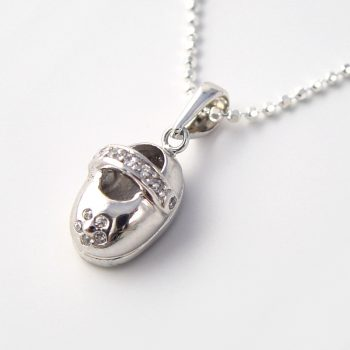 silver baby shoe charm necklace