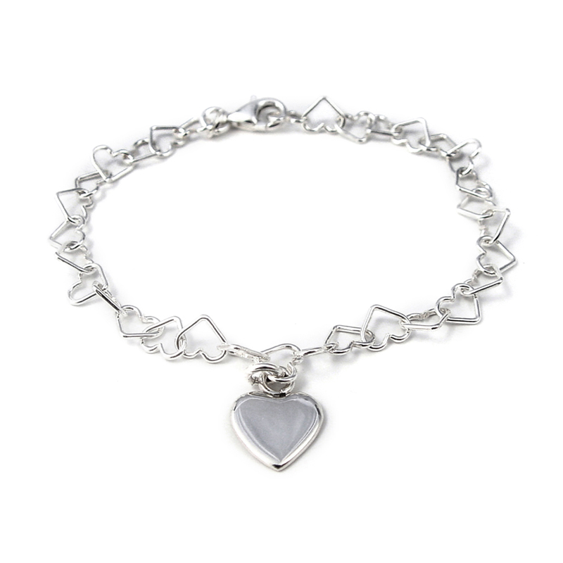 Silver Linked Heart Bracelet With Charm Click Image To Enlarge