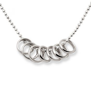 silver lucky seven rings necklace
