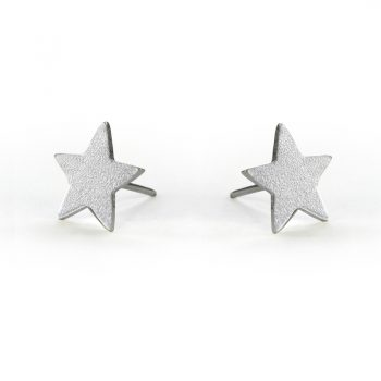 silver lucky star stud earrings
