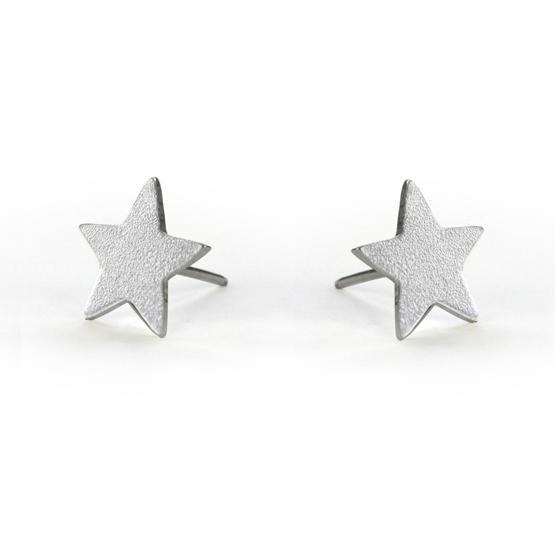 Silver Lucky Star Stud Earrings Click Image To Enlarge