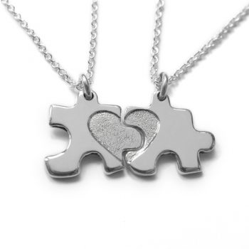silver my mummy and me jigsaw necklaces set