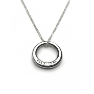 silver luck and love message necklace