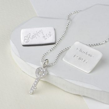 silver key necklace with Happy 21st plaque