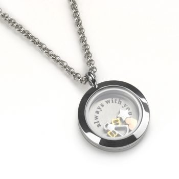 floating locket necklace with charms inside