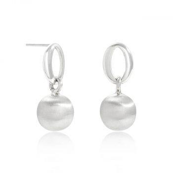 satin silver ball earrings