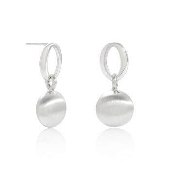 satin silver button earrings