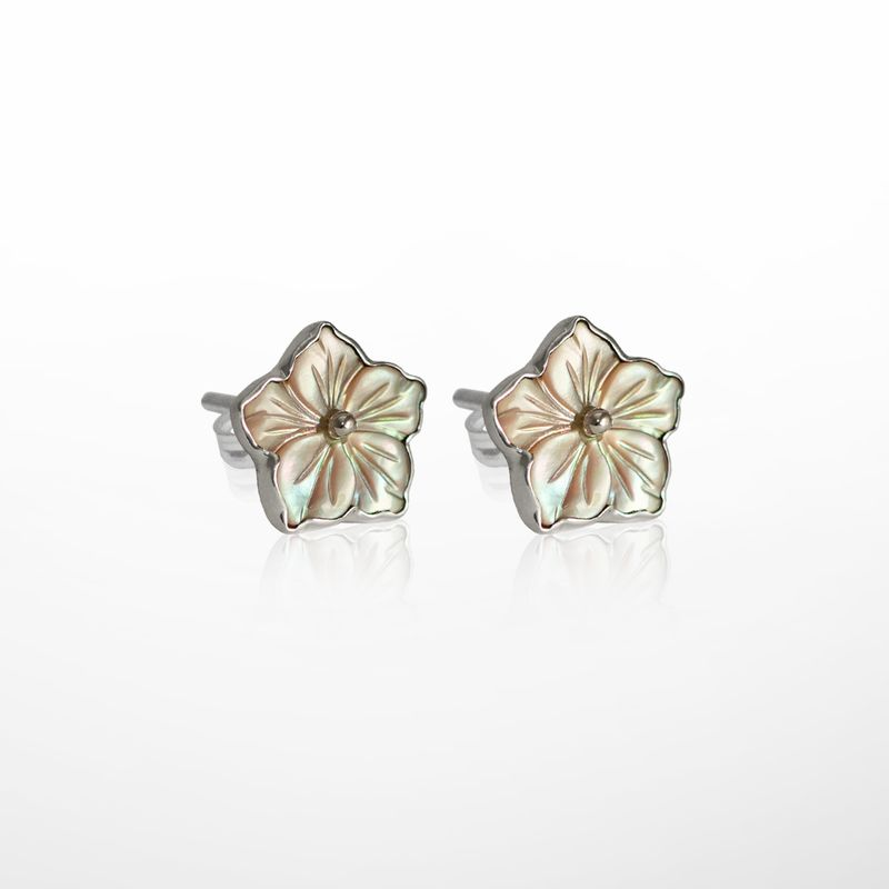 Silver Pale Pink Mother Of Pearl Flower Earrings
