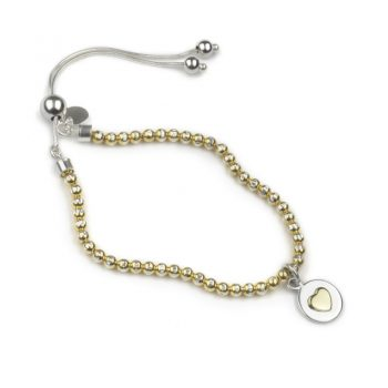 Bead brac gold-gold heart 800